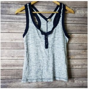 L FP We The Free Blue Half Button Racer Back Tank